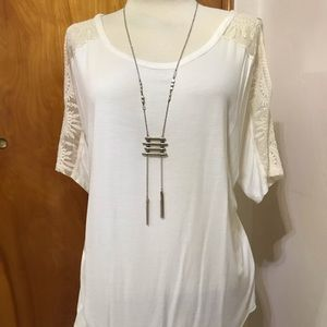 Versona off-white cold shoulder tee